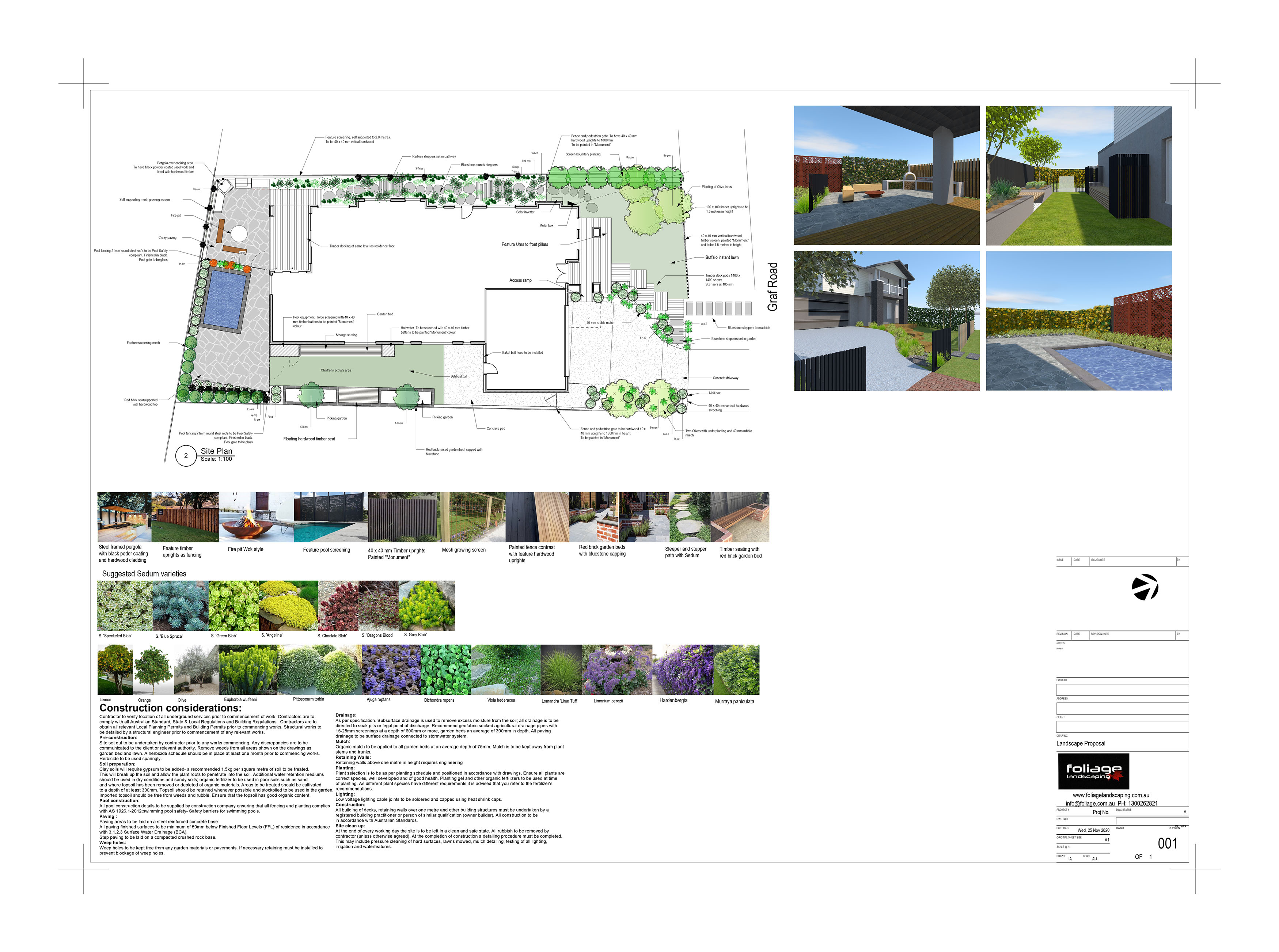 Hardscape location plan and construction
